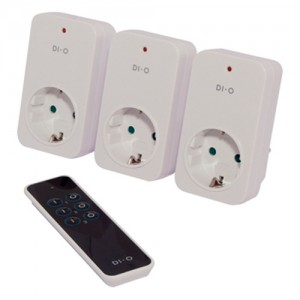DI-O 3 Channel Remote Control plus starter kit with 3x on/off sockets